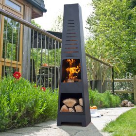 Skyline Steel Chimenea with Log Store