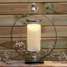 Silver Round Candleholder 40cm