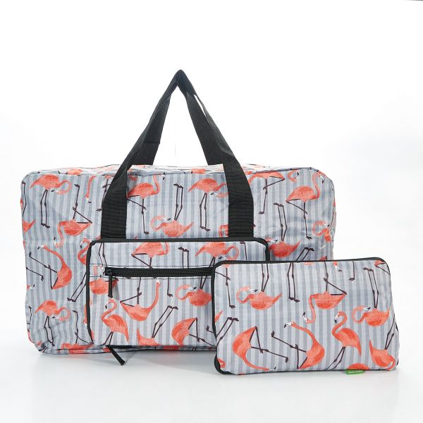 Grey Flamingo Foldable Holdall
