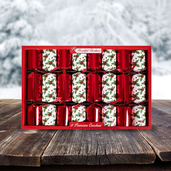 Beautiful Christmas Premium Crackers - Holly - 8 Pack