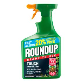 Roundup Tough Ready To Use Weed Killer - 1 litre + 20% Free