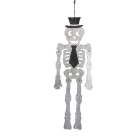 Glittered Acrylic Skeleton with Top Hat