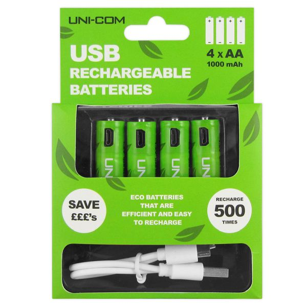 USB Eco Rechargeable Batteries - AA - 4 Pack