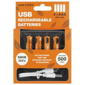 USB Eco Rechargeable Batteries - AAA - 4 Pack