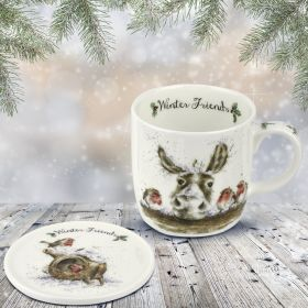 Winter Friends Donkey Robin Mug & Coaster Set